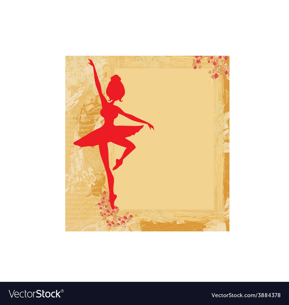 Beautiful ballerina in the background grunge vector | Price: 1 Credit (USD $1)