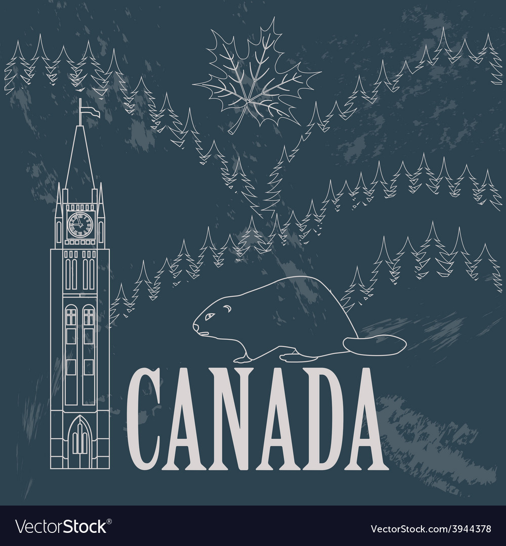 Canada landmarks retro styled image vector | Price: 1 Credit (USD $1)