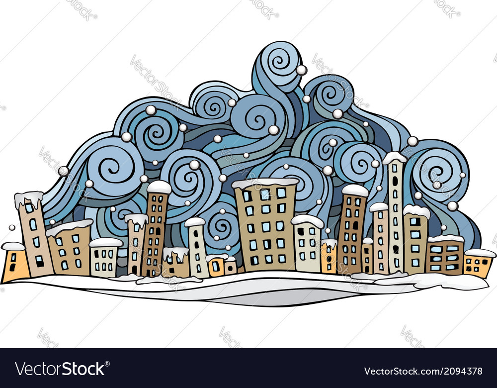 Cartoon abstract winter city vector | Price: 1 Credit (USD $1)