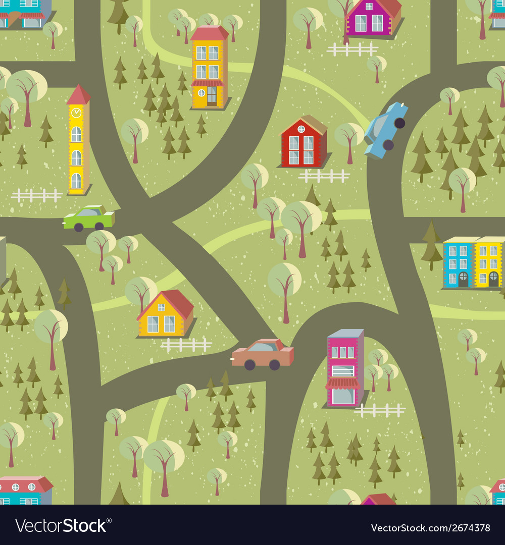 Cartoon map seamless pattern vector | Price: 1 Credit (USD $1)