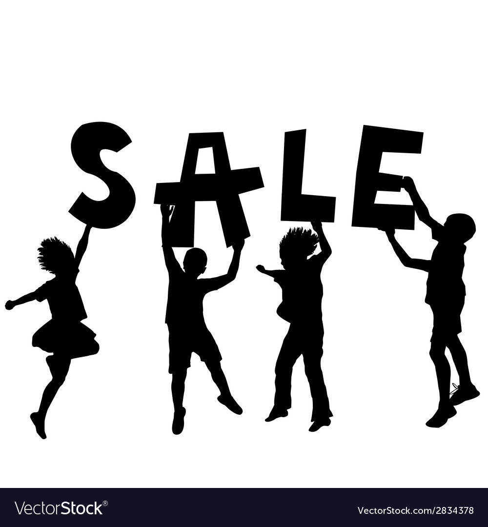 Children holding a sale message vector | Price: 1 Credit (USD $1)