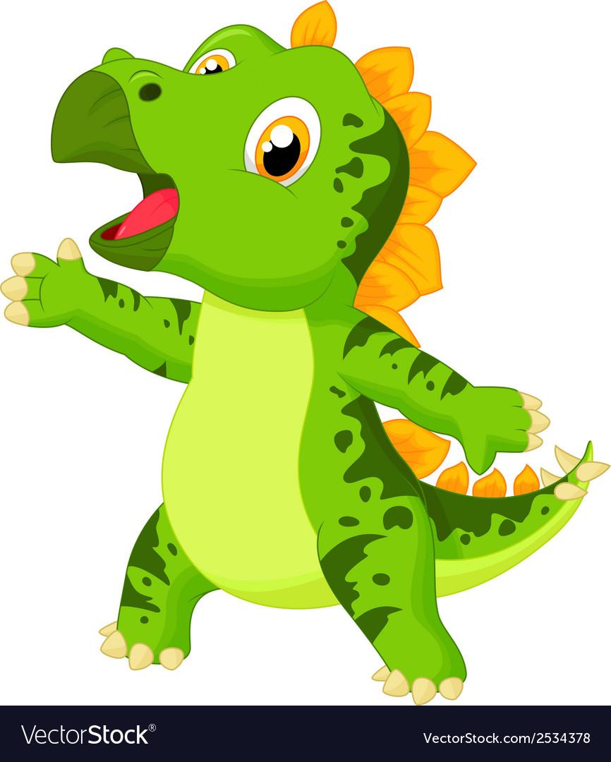 Cute baby stegosaurus cartoon vector | Price: 1 Credit (USD $1)