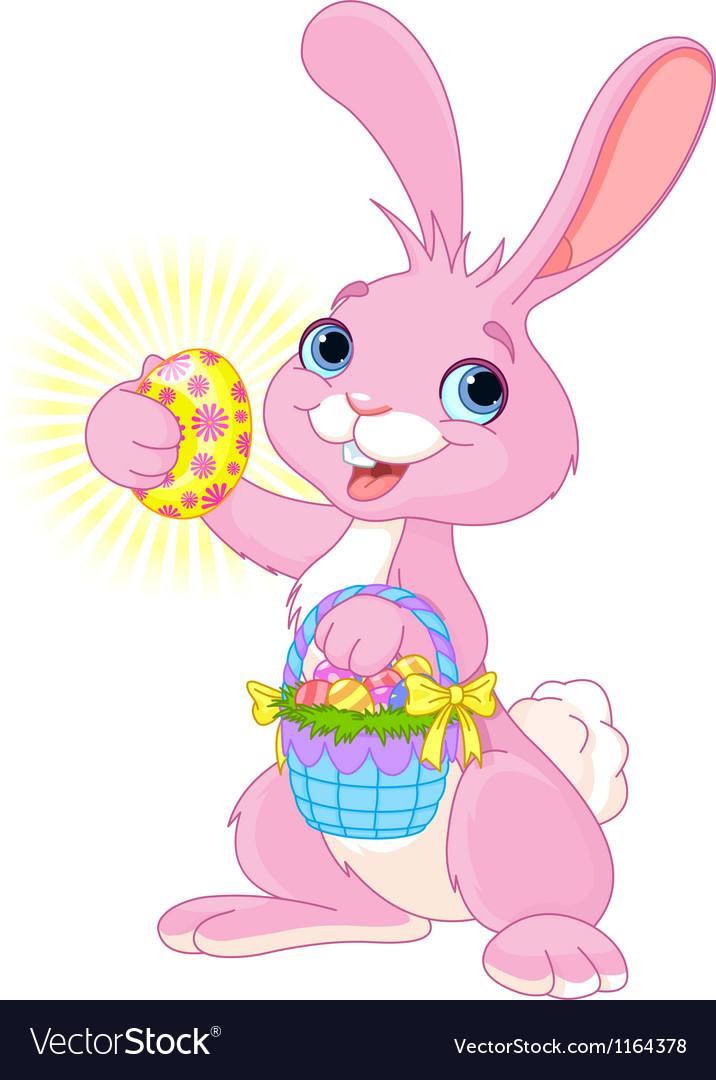 Easter bunny with easter egg vector | Price: 3 Credit (USD $3)