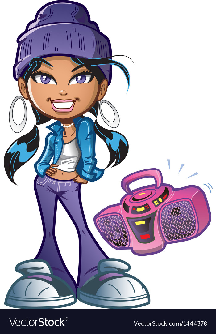 Funky girl with boombox vector | Price: 1 Credit (USD $1)