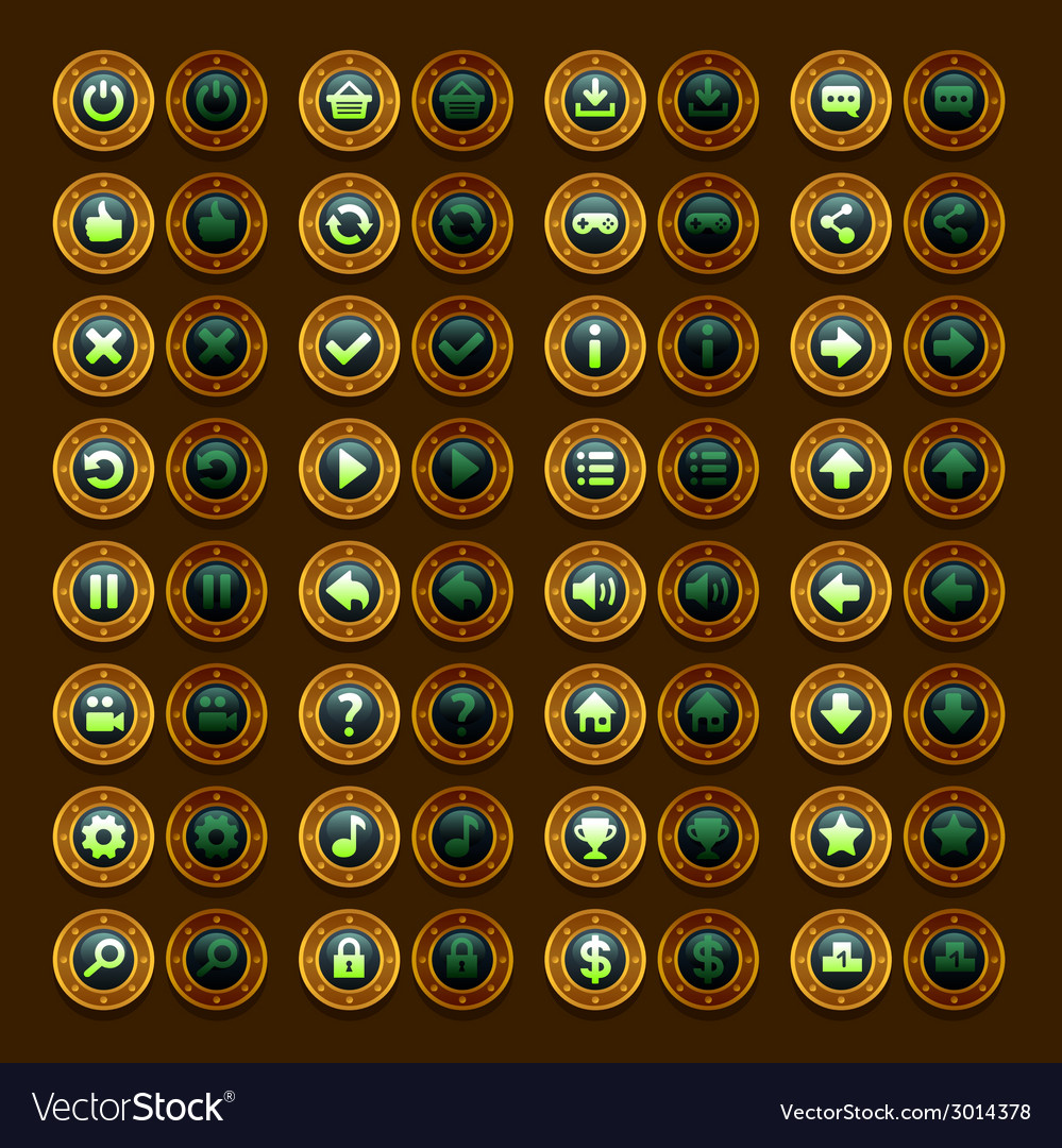Game menu icons steampunk buttons set vector | Price: 1 Credit (USD $1)
