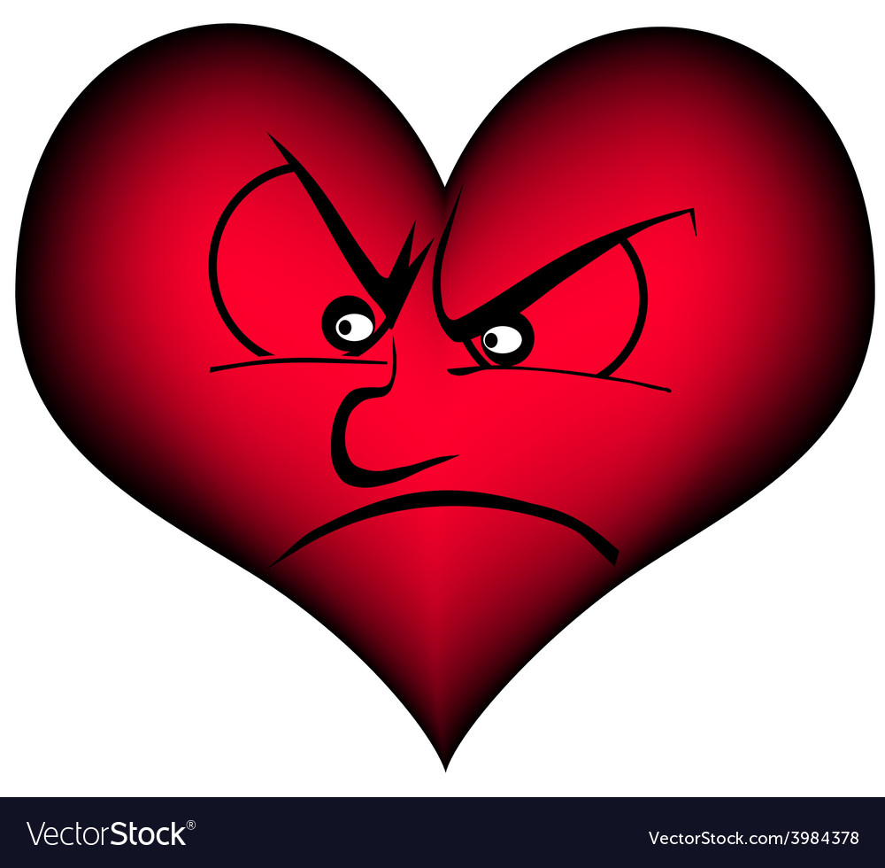 Heart looking angry vector | Price: 1 Credit (USD $1)