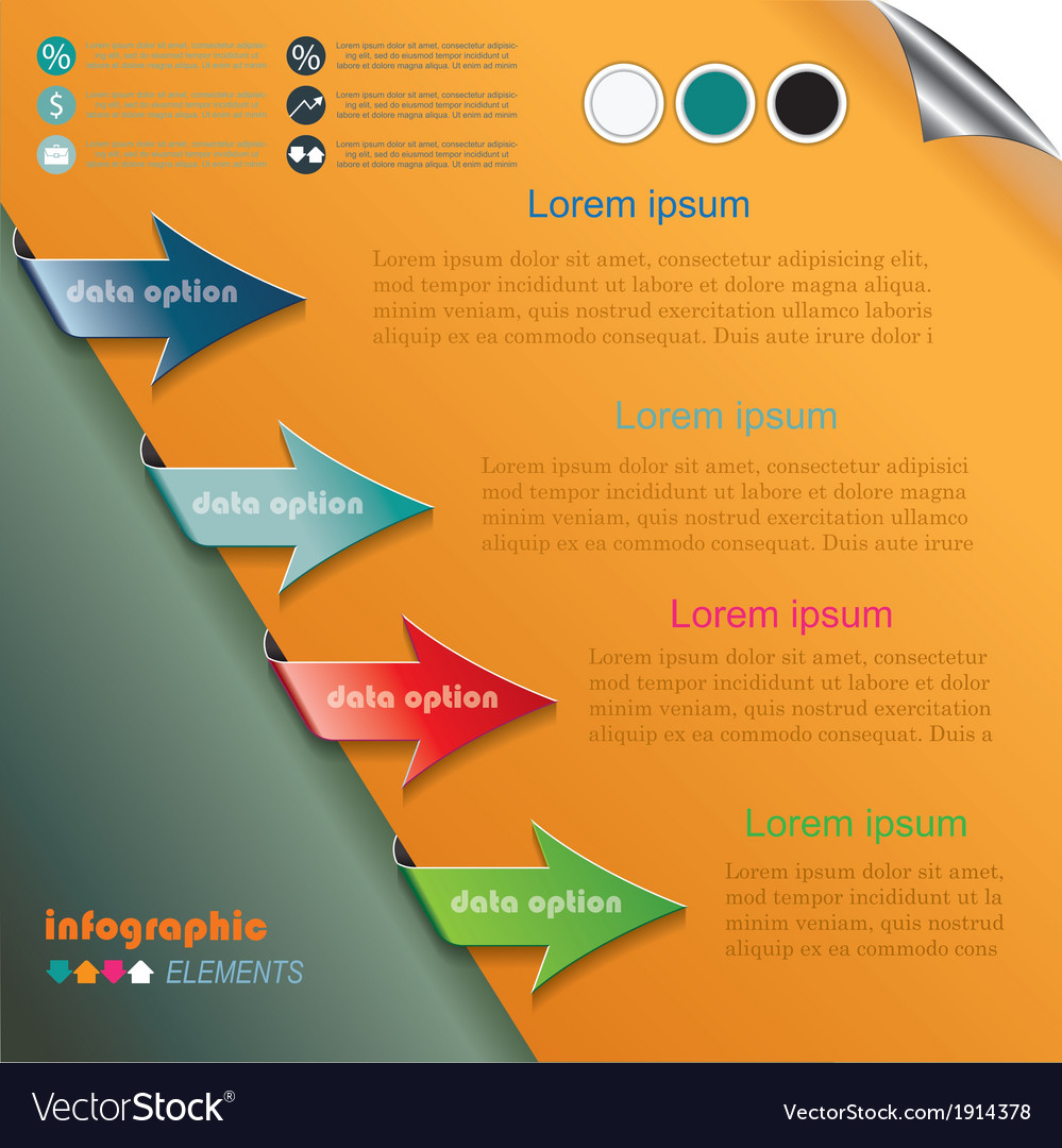 Modern arrows for infographics template vector | Price: 1 Credit (USD $1)