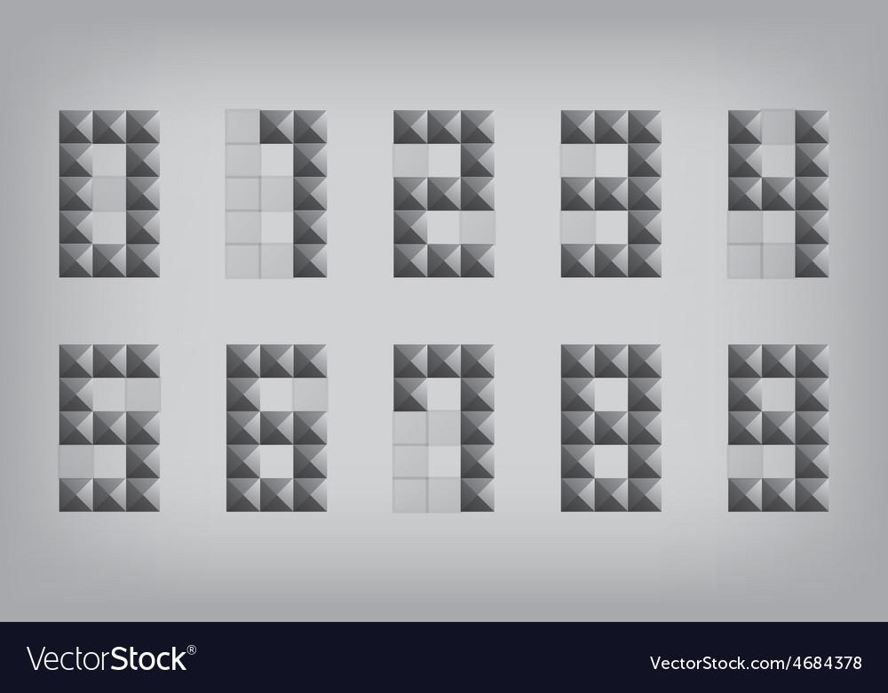 Set 0-9 number zero-nine alphabet geometric icon vector | Price: 1 Credit (USD $1)