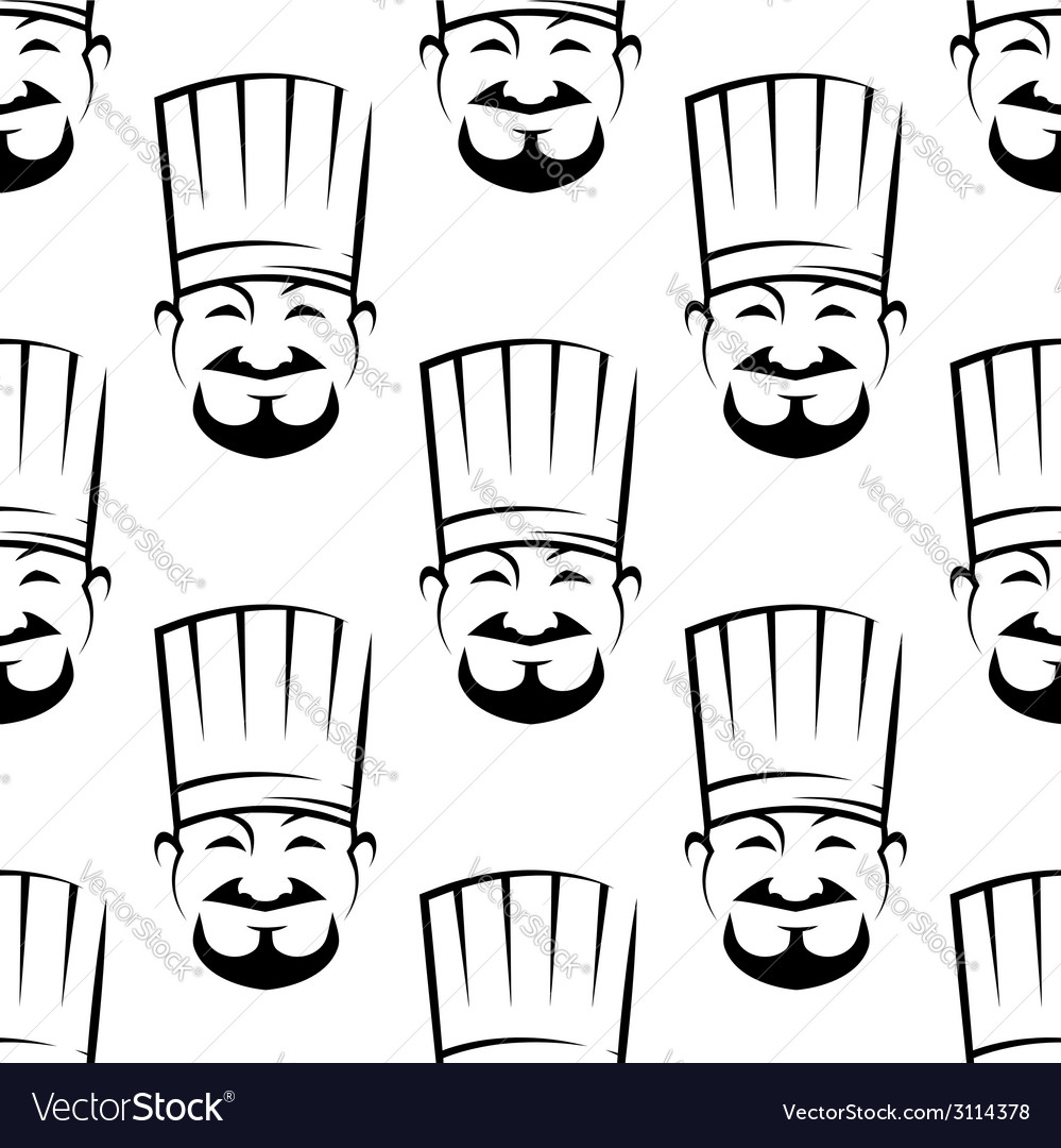 Smiling chefs seamless background pattern vector | Price: 1 Credit (USD $1)