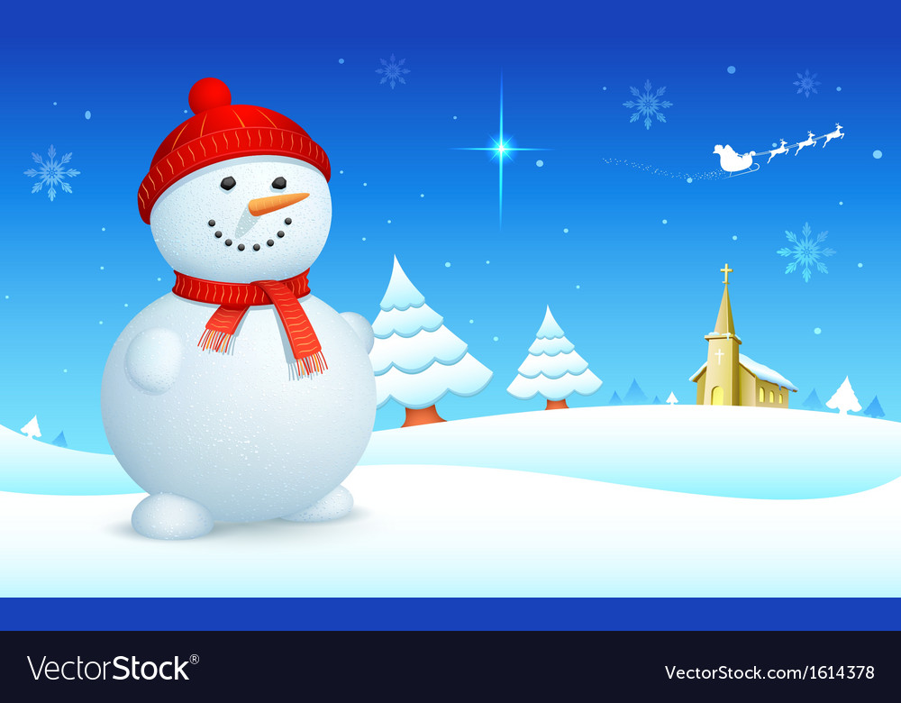 Snowman on christmas night vector | Price: 1 Credit (USD $1)