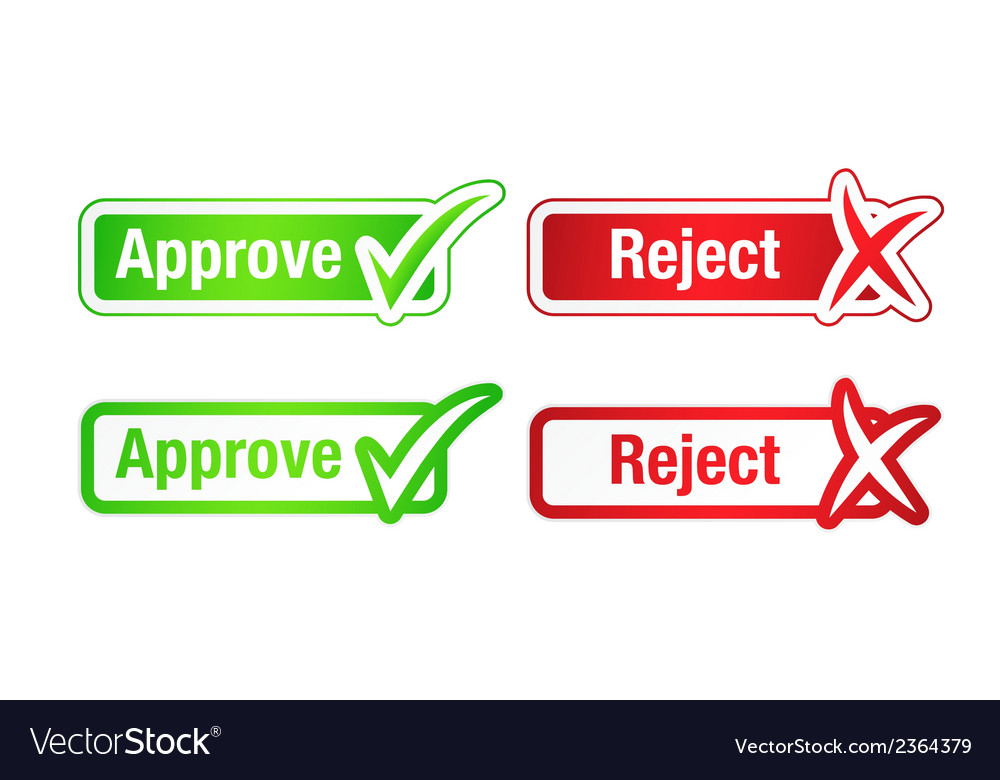 Approve reject buttons with checkmarks vector | Price: 1 Credit (USD $1)