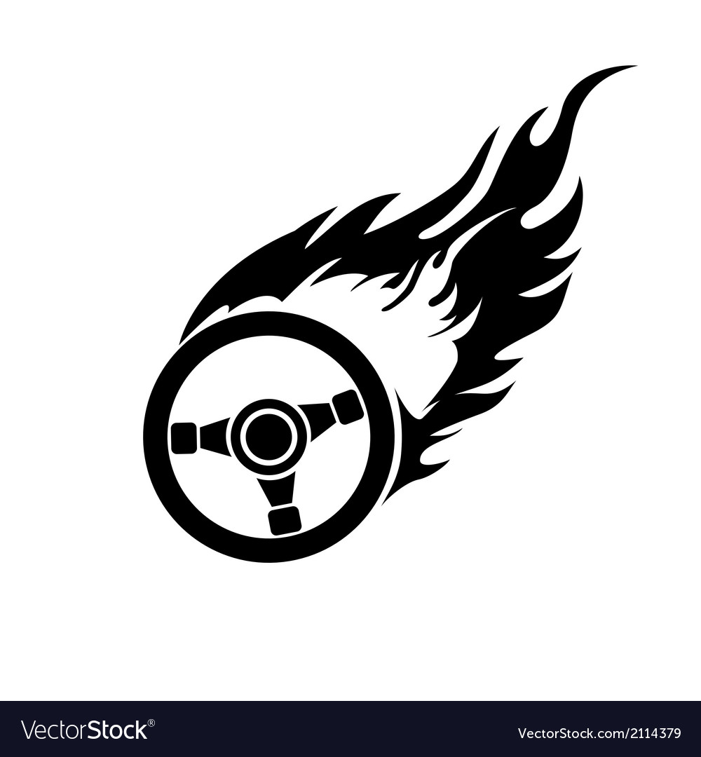 Black and white burning automobile steering vector | Price: 1 Credit (USD $1)