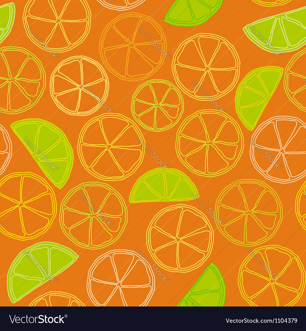 Fresh citrus outline seamless pattern vector | Price: 1 Credit (USD $1)