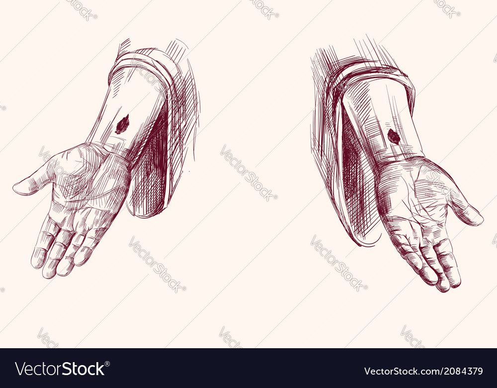 Hands of jesus christ hand drawn vector | Price: 1 Credit (USD $1)