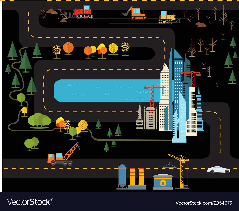 Modern city flat design vector | Price: 1 Credit (USD $1)