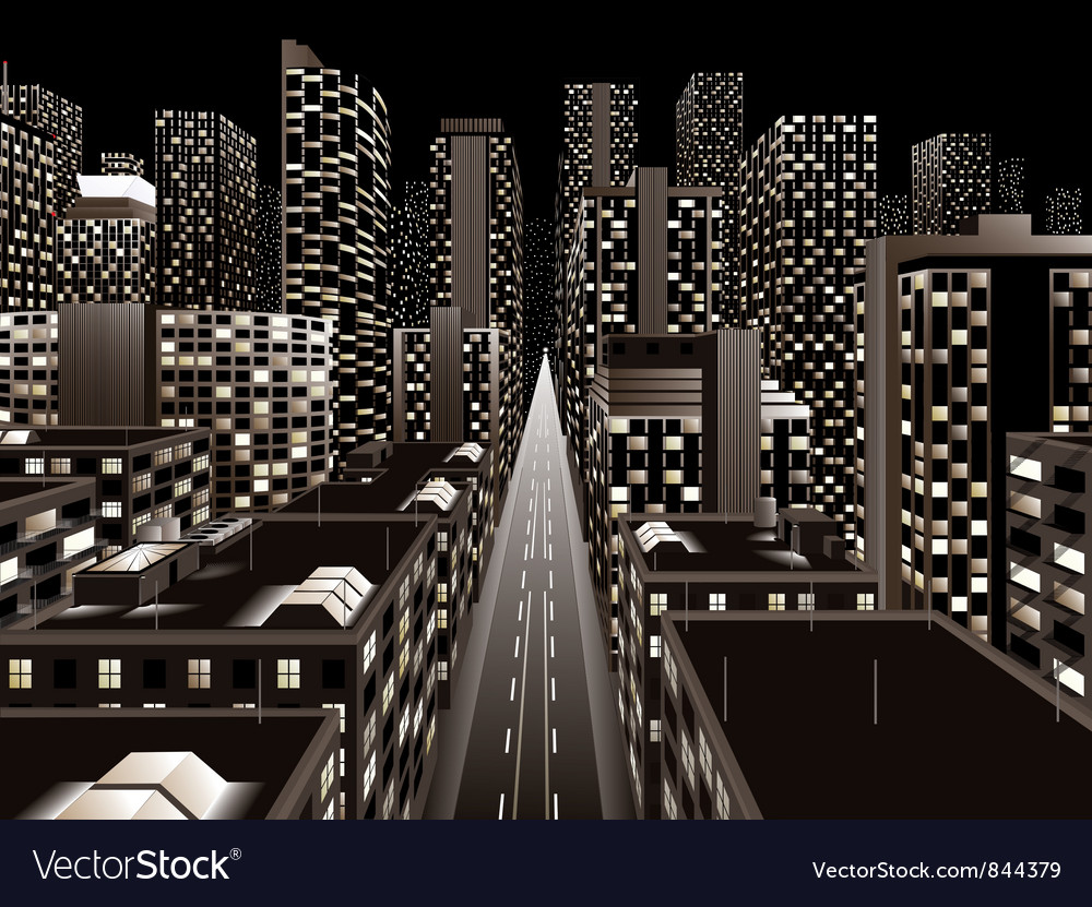 Night city vector | Price: 3 Credit (USD $3)