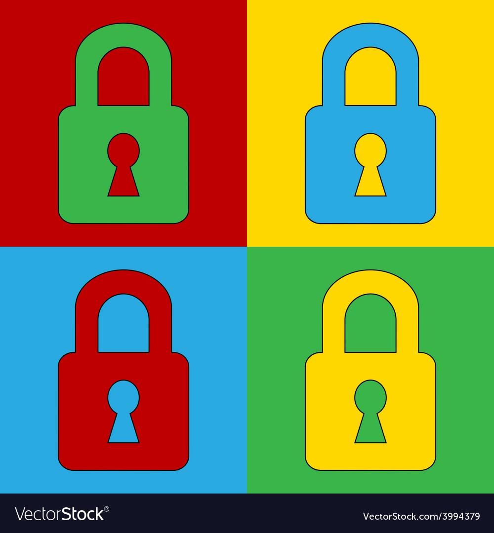 Pop art lock simbol icons vector | Price: 1 Credit (USD $1)