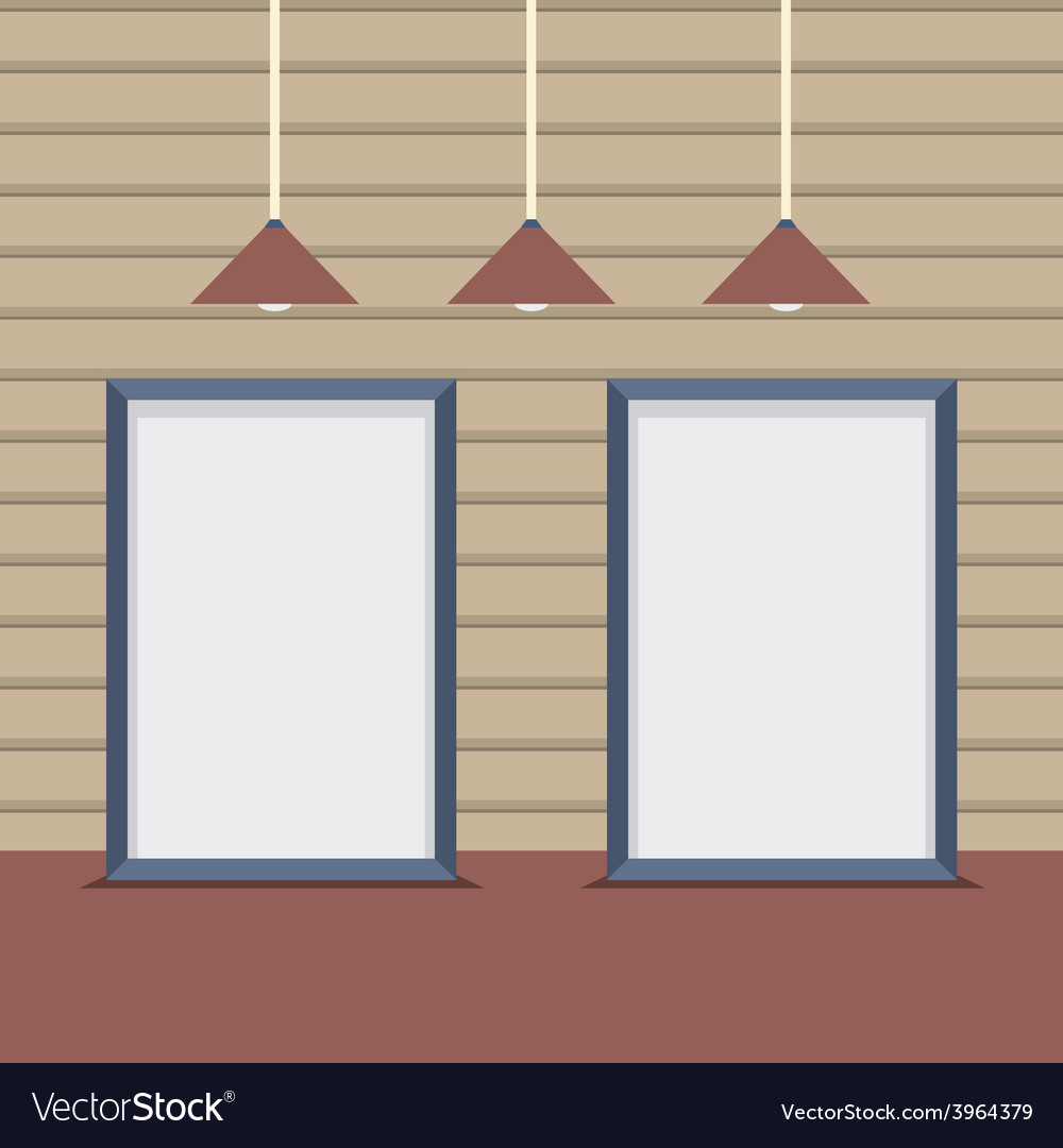 Set blank boards with ceiling lamps on wooden wall vector | Price: 1 Credit (USD $1)