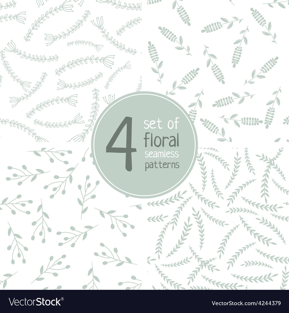 Set of 4 floral seamless patterns 02 vector | Price: 1 Credit (USD $1)