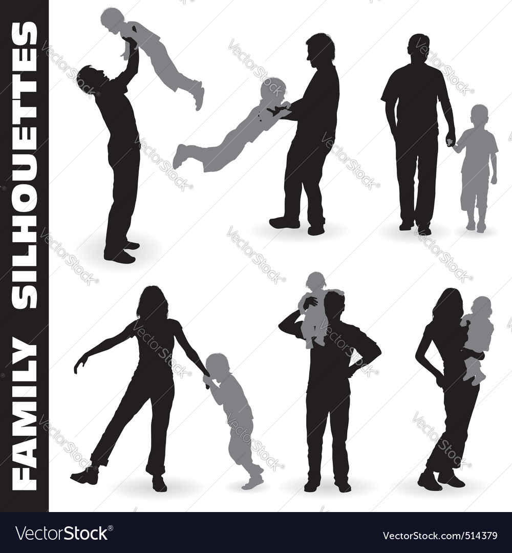 Silhouette happy family vector | Price: 1 Credit (USD $1)