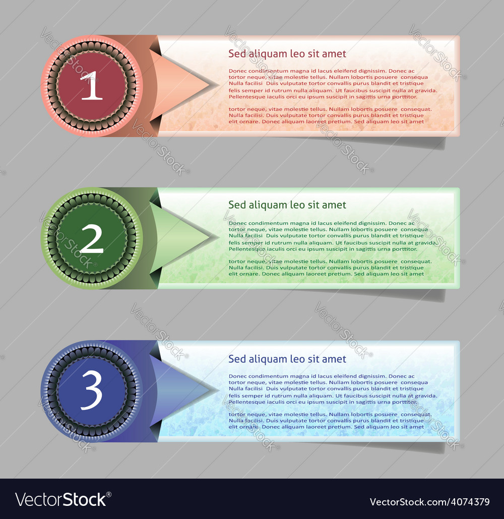 Three abstract vintage old paper banners vector | Price: 1 Credit (USD $1)