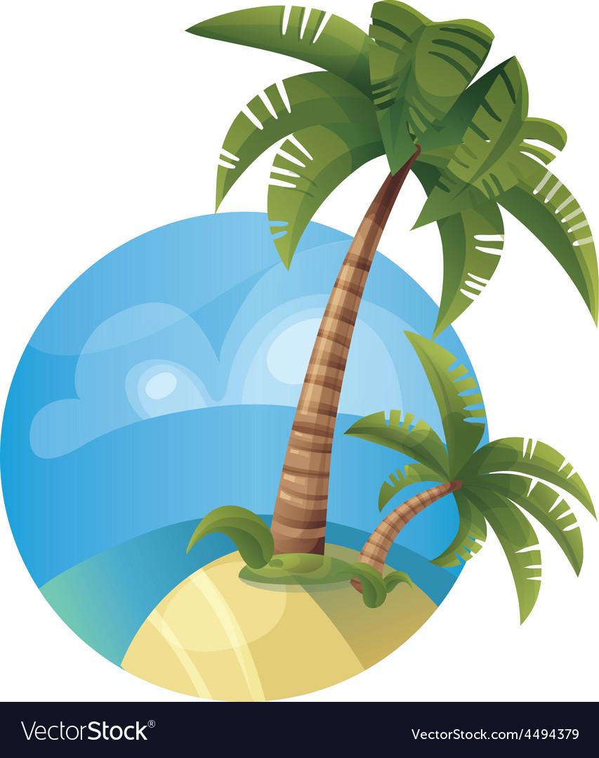 Tropic ocean island lanscape vector | Price: 1 Credit (USD $1)