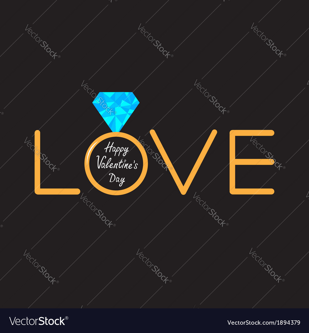 Wedding ring diamond word love valentines card vector | Price: 1 Credit (USD $1)