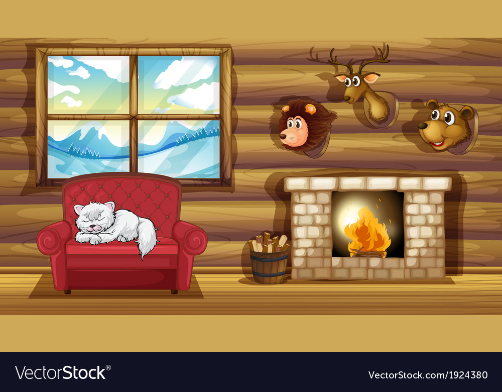 A living room with stuffed animal head decors vector | Price: 3 Credit (USD $3)