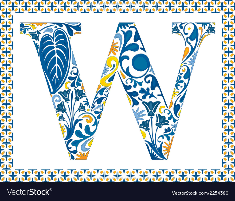 Blue letter w vector | Price: 1 Credit (USD $1)