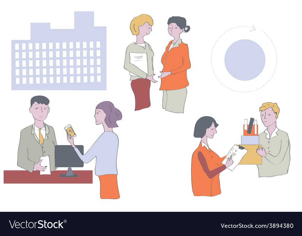 Business people at the office - work in groups vector | Price: 1 Credit (USD $1)