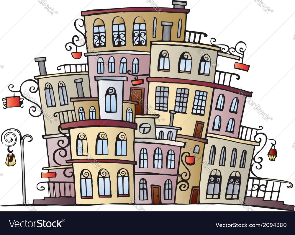Cartoon drawing town vector | Price: 1 Credit (USD $1)