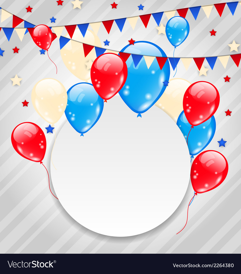 Celebration card with balloons in american flag vector | Price: 1 Credit (USD $1)