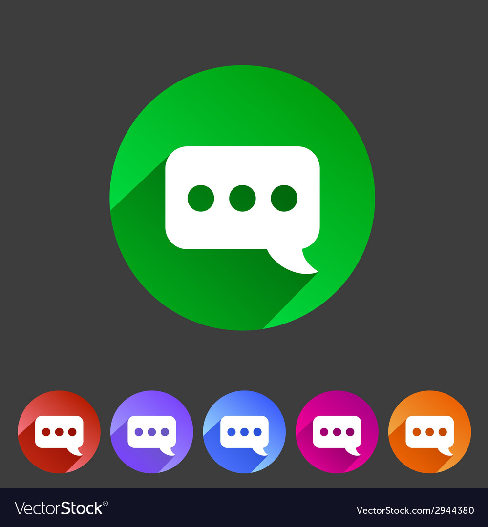 Chat speech bubble flat icon vector   Price: 1 Credit (USD $1)