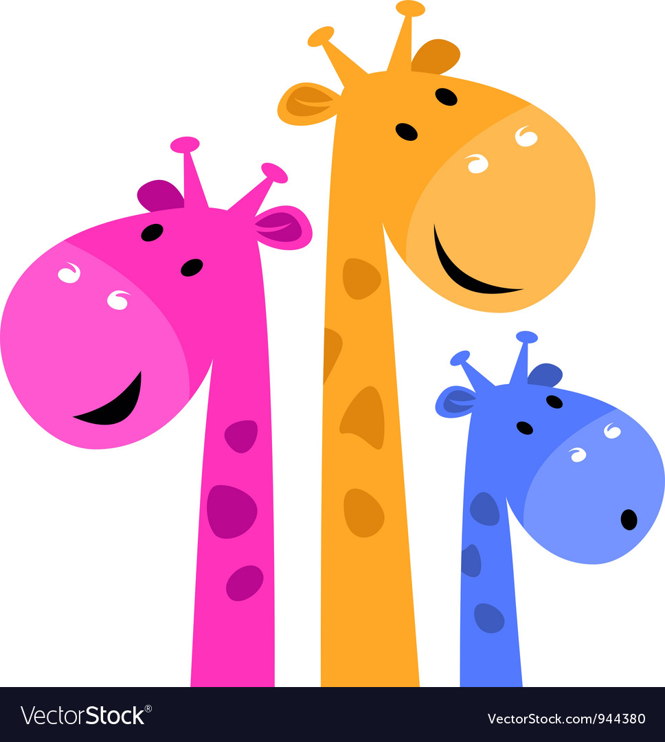 Colorful giraffe family vector | Price: 1 Credit (USD $1)