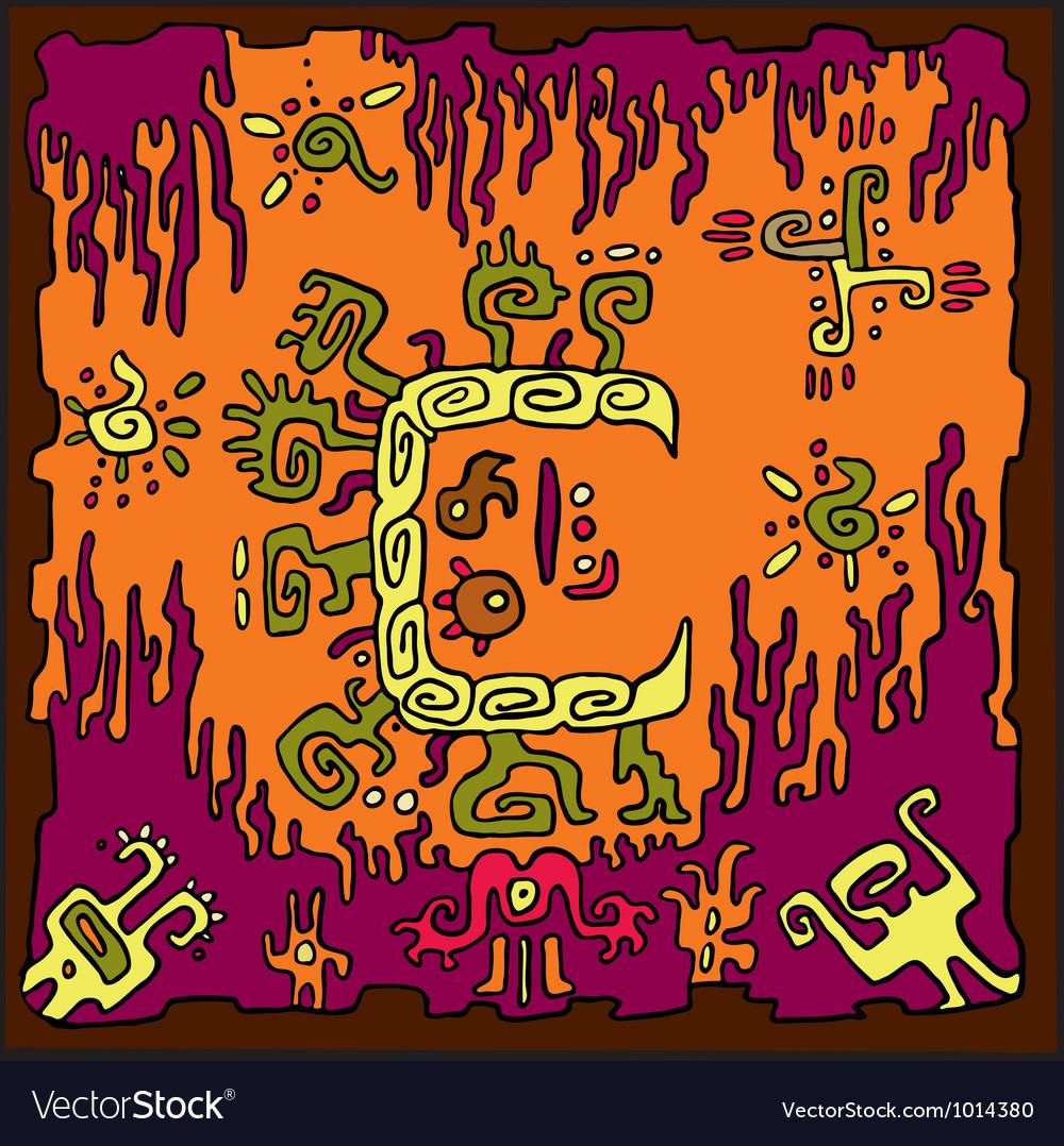 Ethnic abstract orange background vector