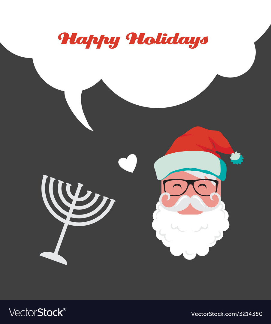 Happy holidays jewish holiday menorah and xmas vector | Price: 1 Credit (USD $1)
