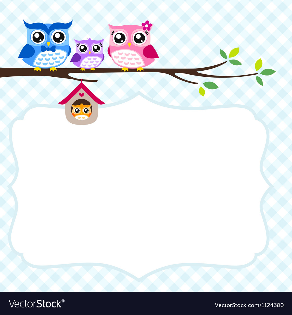 Owl family spring vector | Price: 1 Credit (USD $1)