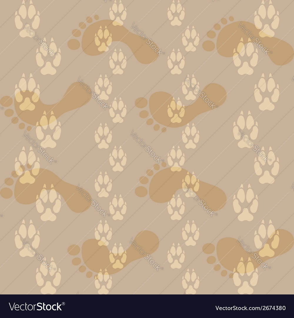Seamless pattern ways dog paw prints and legs of a vector | Price: 1 Credit (USD $1)
