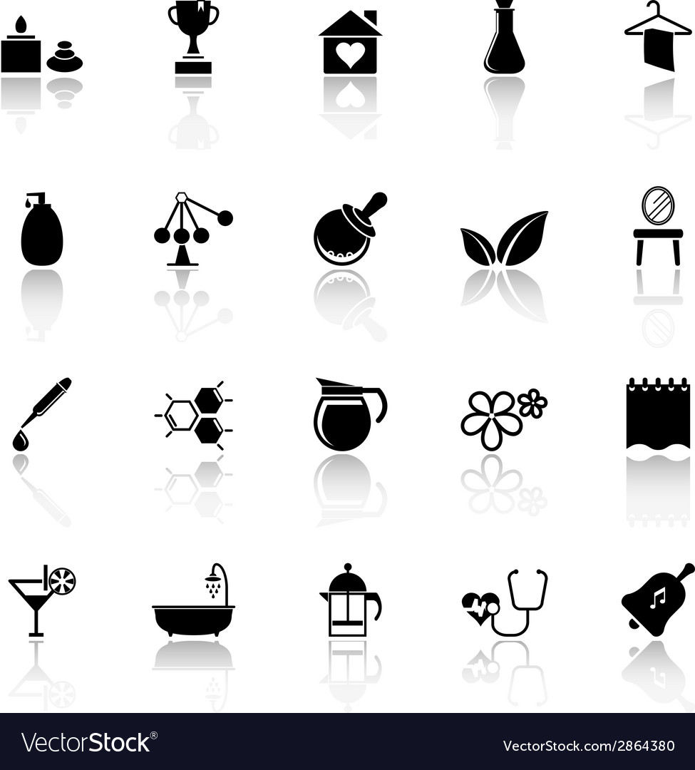 Spa treatment icons with reflect on white vector | Price: 1 Credit (USD $1)