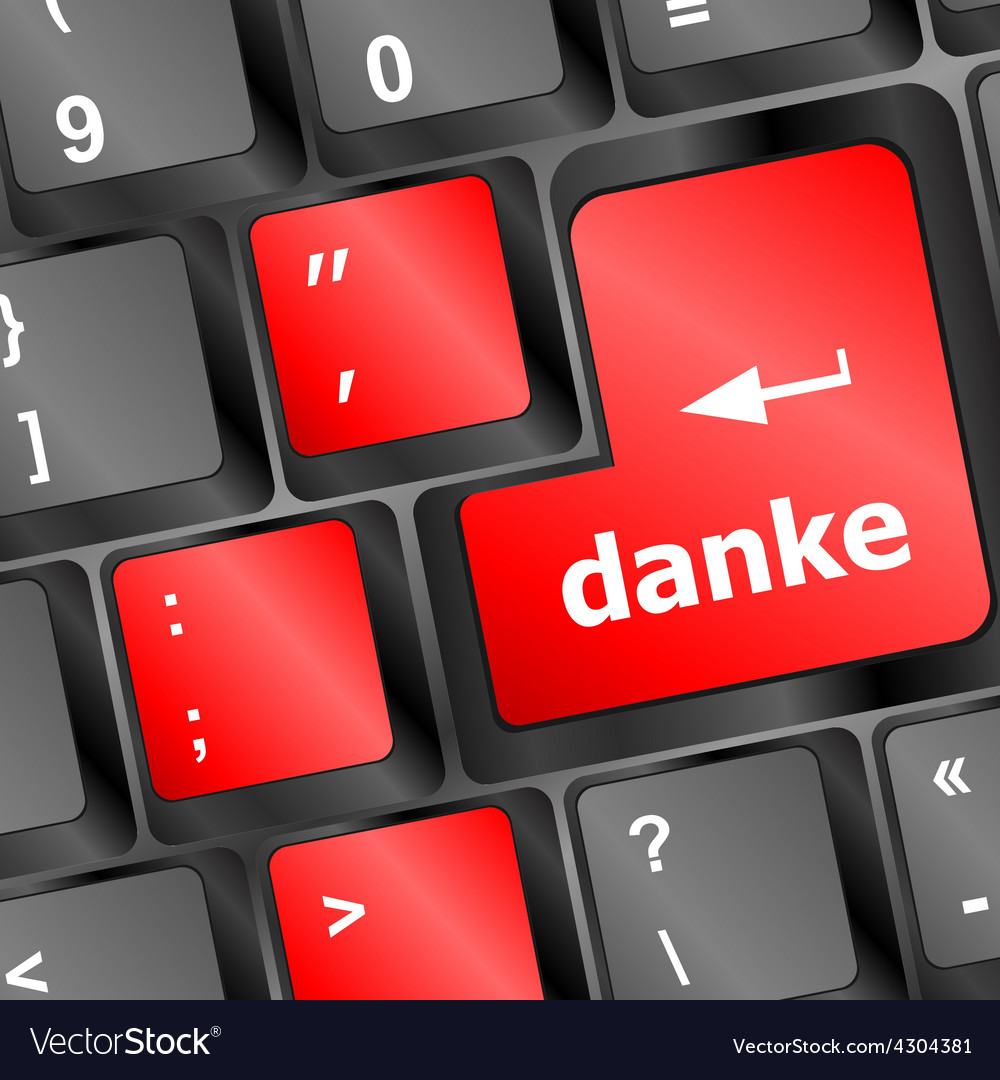 A thank you danke message on enter key of keyboard vector | Price: 1 Credit (USD $1)