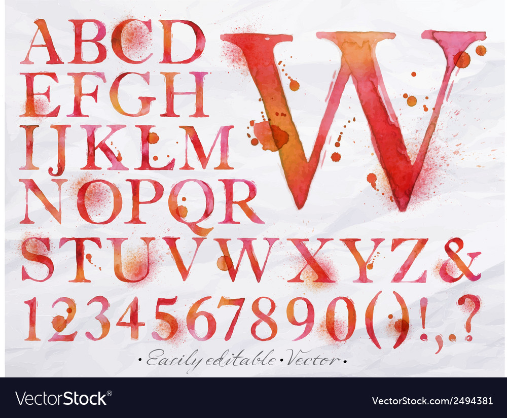 Alphabet watercolor red vector | Price: 1 Credit (USD $1)