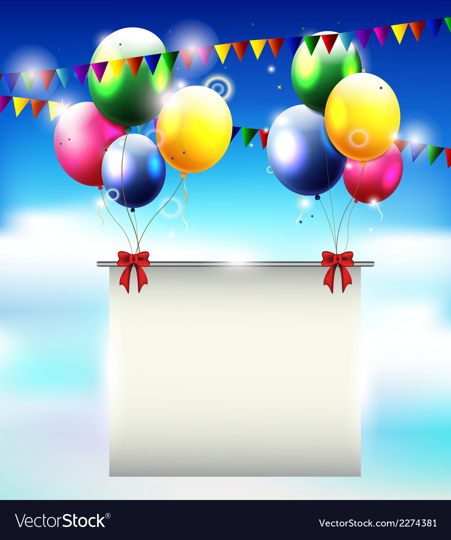 Birthday background with balloon and place for tex vector | Price: 1 Credit (USD $1)