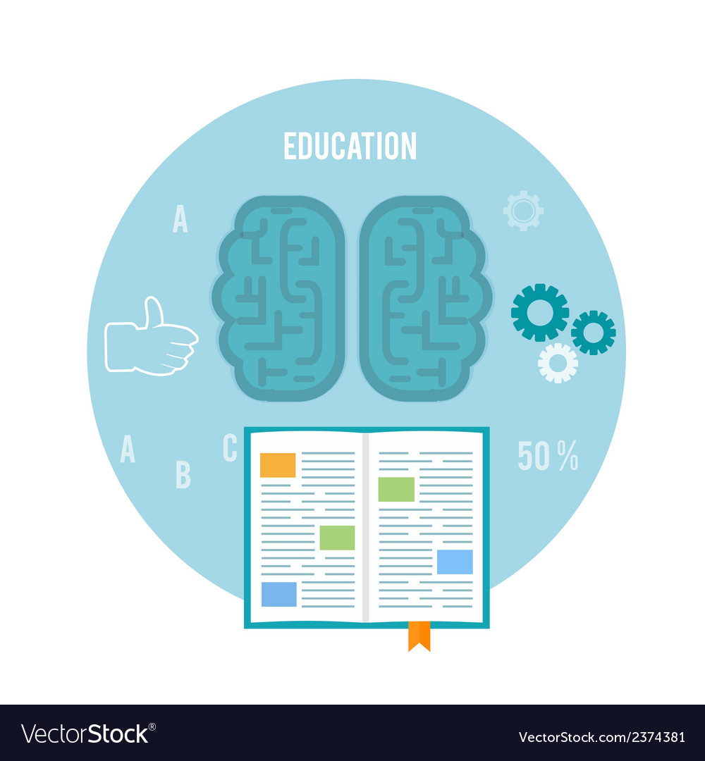 Book with brain education concept vector | Price: 1 Credit (USD $1)