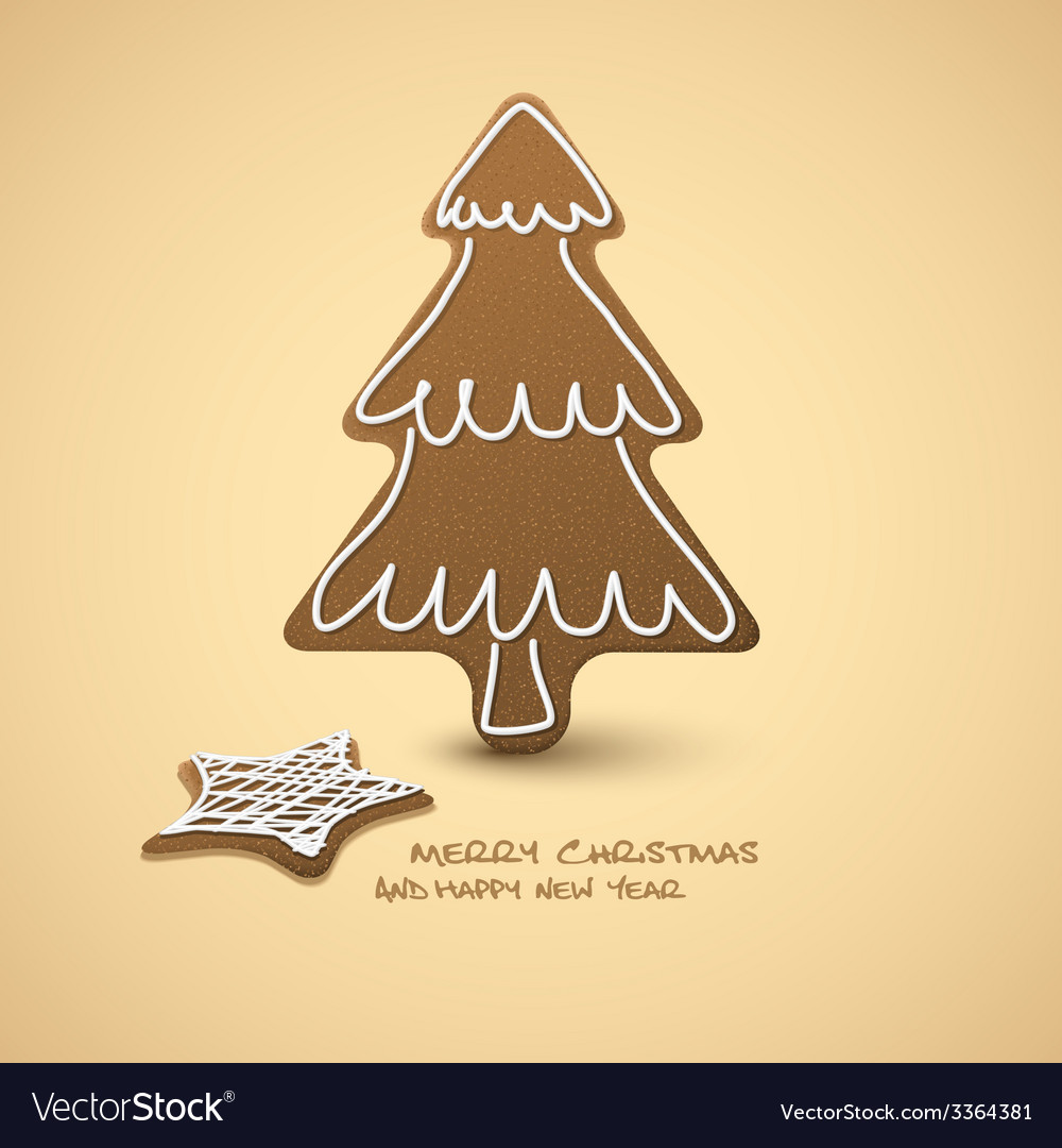 Christmas card - gingerbreads with white icing vector | Price: 1 Credit (USD $1)