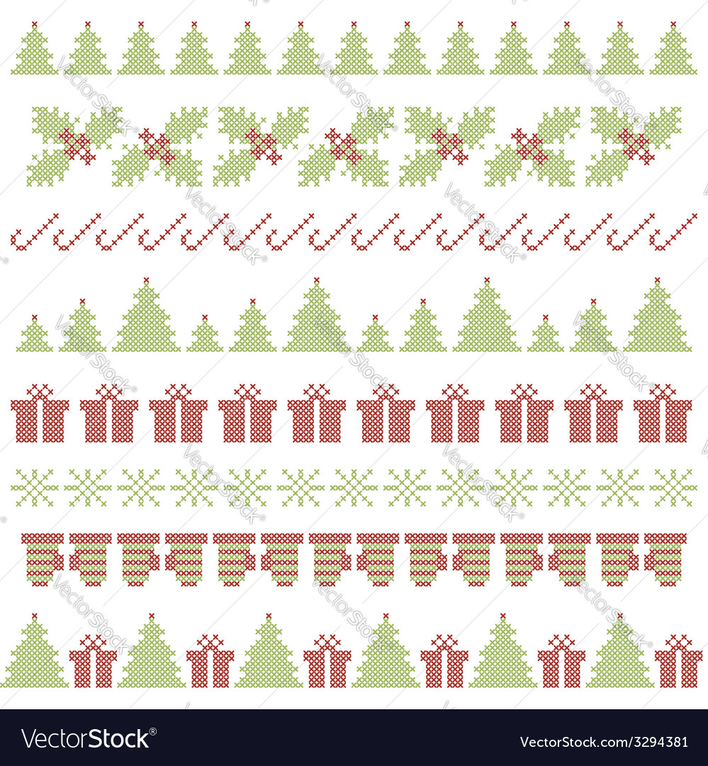 Christmas embroidering elements vector | Price: 1 Credit (USD $1)