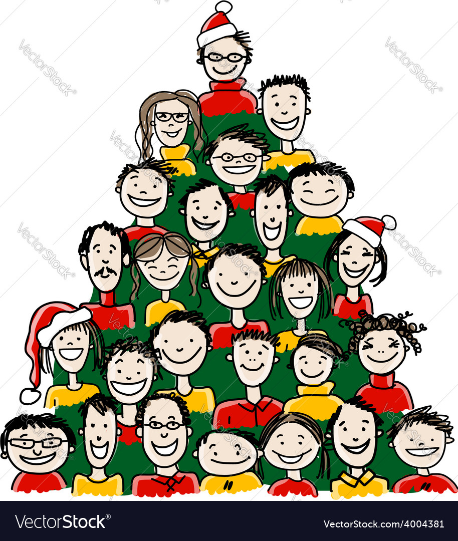Christmas tree made from group of people for your vector | Price: 1 Credit (USD $1)