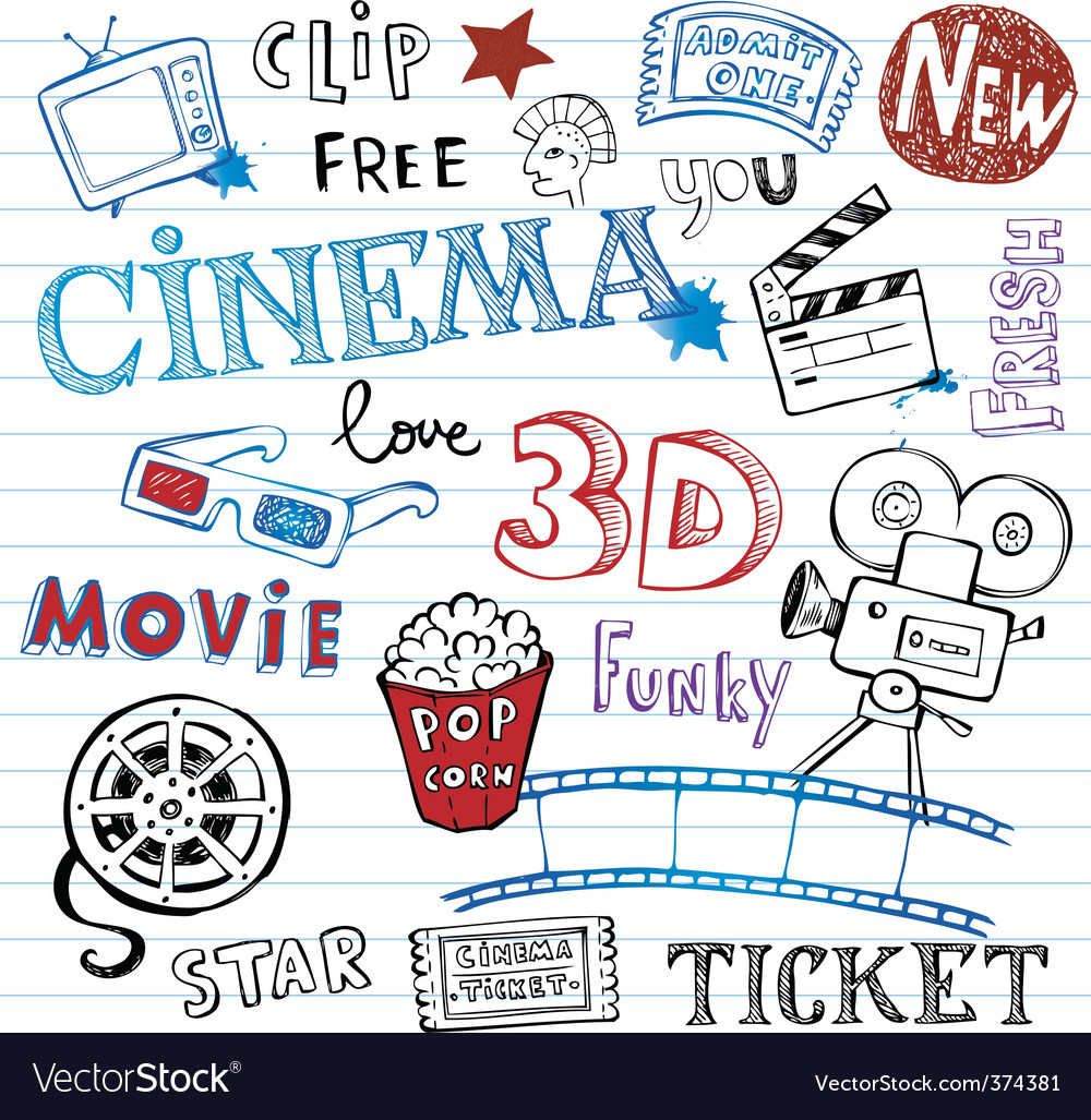 Cinema doodles vector | Price: 1 Credit (USD $1)