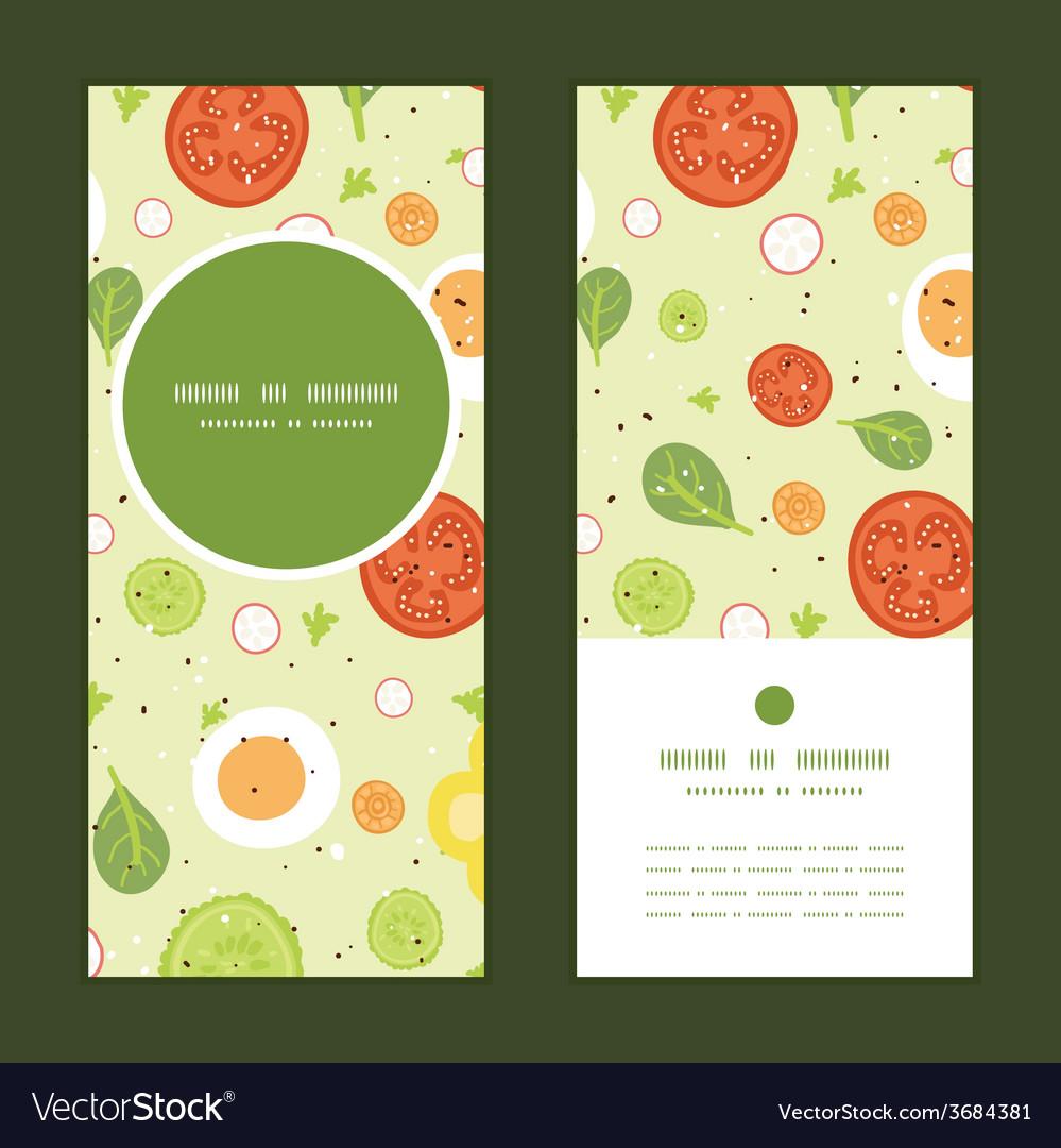 Fresh salad vertical round frame pattern vector | Price: 1 Credit (USD $1)