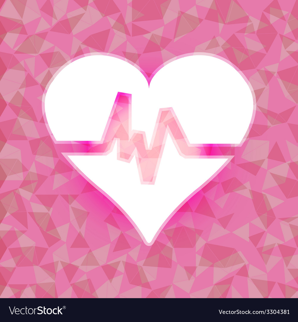 Heart beat on pink dazzled triangle background vector | Price: 1 Credit (USD $1)