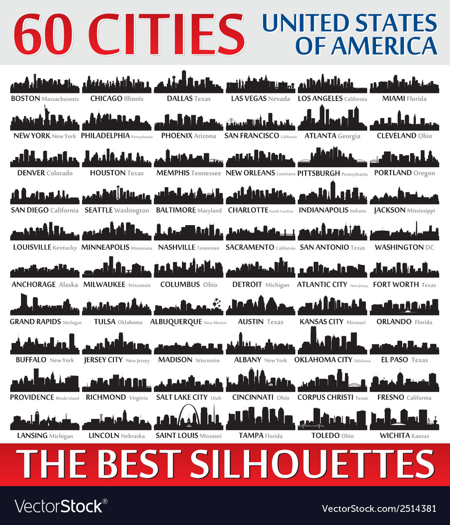 Incredible skyline set 60 city silhouettes of usa vector | Price: 1 Credit (USD $1)